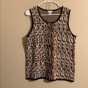 Chico's animal print sleeveless sweater XL